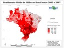 Rendimento Médio de Milho no Brasil entre 2005 e 2007